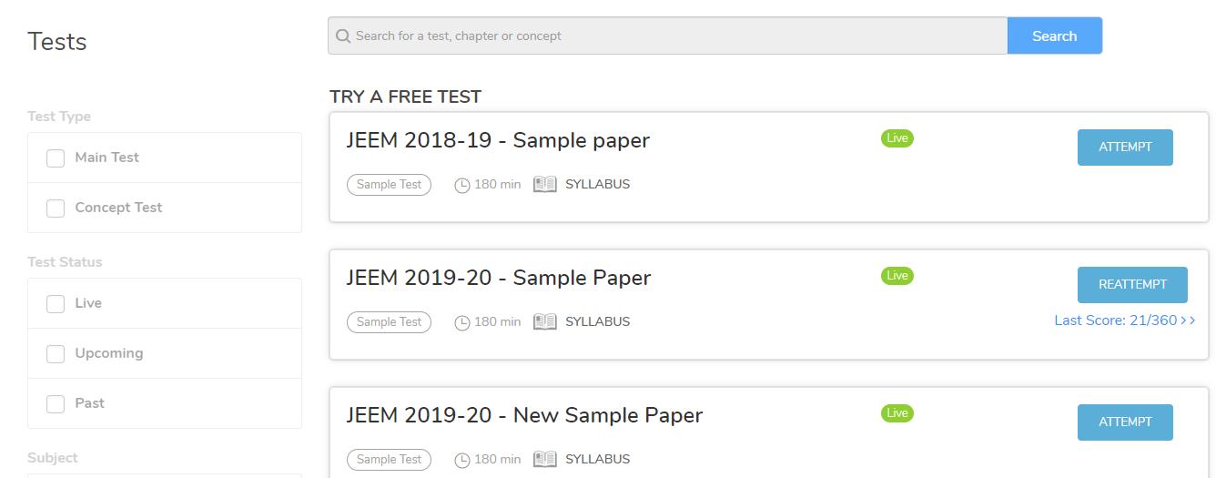 myPAT Tests Tab